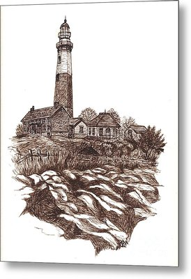 Montauk Lighthouse Long Island  N Y Metal Print by Carol Wisniewski