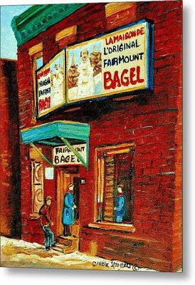 Montreal Bagel Factory Famous Brick Building On Fairmount Street Vintage Paintings Of Montreal  Metal Print by Carole Spandau