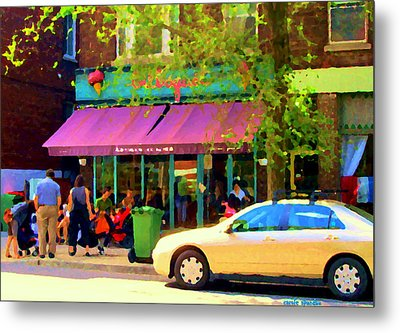 Montreal Cafe Scenes Beautiful Bilboquet On Bernard Creme Glacee Summer City Scene Carole Spandau  Metal Print by Carole Spandau