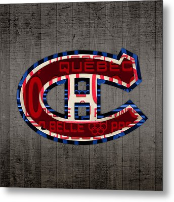 Montreal Canadiens Hockey Team Retro Logo Vintage Recycled Quebec Canada License Plate Art Metal Print by Design Turnpike