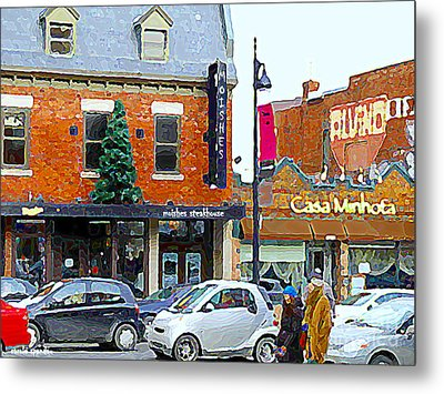 Montreal Memories Moishes Famous Steakhouse Restaurant On The Main Busy Winter Scene Carole Spandau Metal Print by Carole Spandau