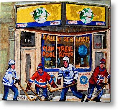 Montreal Pool Room City Scene With Hockey Metal Print by Carole Spandau