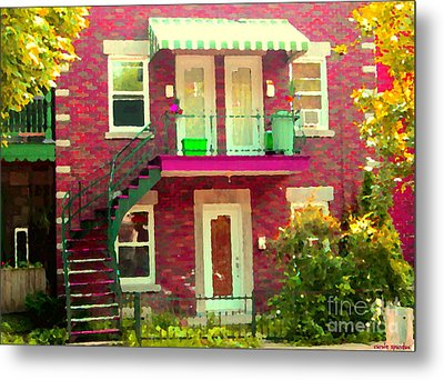 Montreal Stairs Painted Brick House Winding Staircase And Summer Awning City Scenes Carole Spandau Metal Print by Carole Spandau