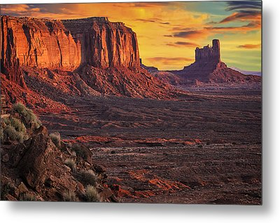 Monument Valley Sunrise Metal Print by Priscilla Burgers