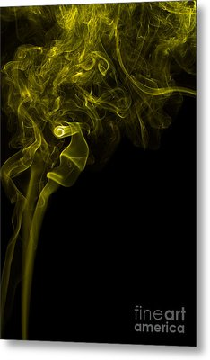 Mood Colored Abstract Vertical Yellow Smoke Wall Art 03 Metal Print by Alexandra K