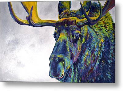 Moody Moose Metal Print by Teshia Art