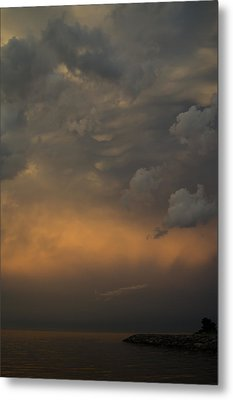 Moody Storm Sky Over Lake Ontario In Toronto Metal Print by Georgia Mizuleva