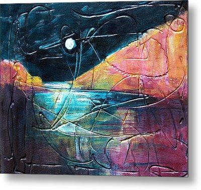Moon And Lagune Metal Print by Betty Pieper