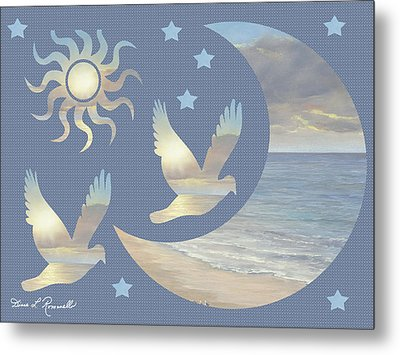 Moon And Stars Metal Print by Diane Romanello