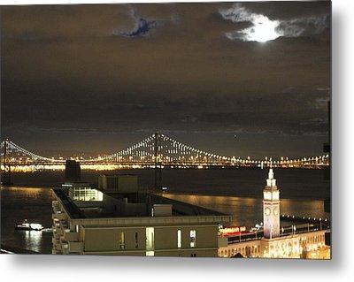 Moon Burst Over San Francisco Oakland Bay Bridge Metal Print by Ron McMath