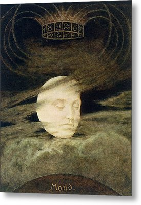 Moon Metal Print by Hans Thoma
