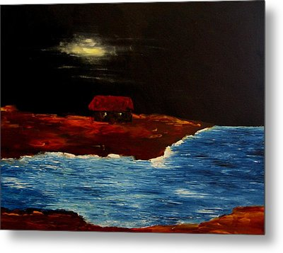 Moon Hut And Sea Metal Print by Mario Perez