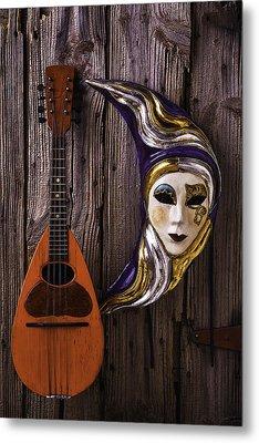 Moon Mask And Mandolin Metal Print by Garry Gay