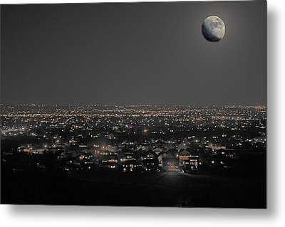Moon Over Fort Collins Metal Print by David Kehrli