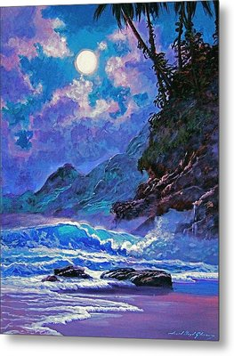 Moon Over Maui Metal Print by David Lloyd Glover