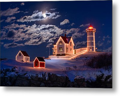 Moon Over Nubble Metal Print by Michael Blanchette