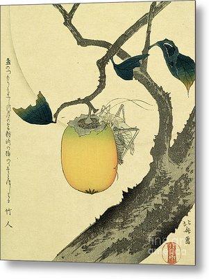 Moon Persimmon And Grasshopper Metal Print by Katsushika Hokusai