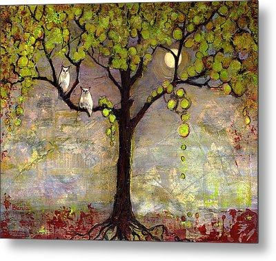 Moon River Tree Owls Art Metal Print by Blenda Studio