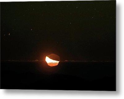 Moon Setting Behind An Inversion Layer Metal Print by Babak Tafreshi