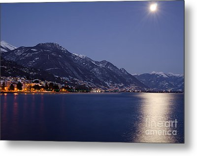 Moonlight Over A Lake Metal Print by Mats Silvan