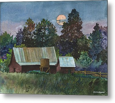 Moonlight Over Caribou Metal Print by Anne Gifford
