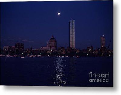 Moonrise Over Boston Skyline July 1982 Metal Print by Thomas Marchessault