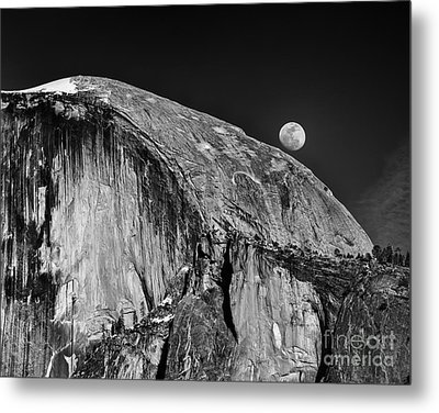 Moonrise Over Half Dome Metal Print by Terry Garvin