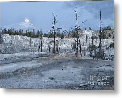 Moonset At Mammoth Terrace-yellowstone Metal Print by Sandra Bronstein