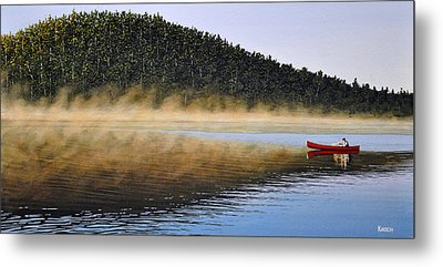 Moose Lake Paddle Metal Print by Kenneth M  Kirsch