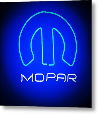Mopar Neon Sign Metal Print by Jill Reger