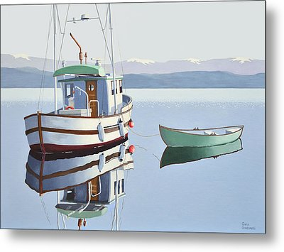 Morning Calm-fishing Boat With Skiff Metal Print by Gary Giacomelli