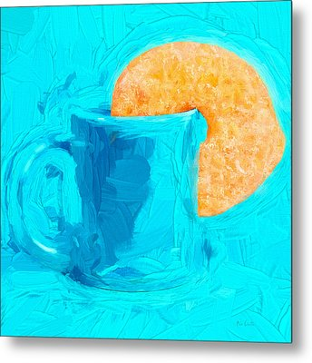 Morning Coffee And Donut Metal Print by Bob Orsillo
