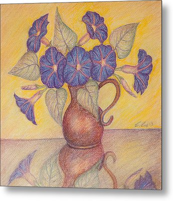 Morning Glories With Yellow Background Metal Print by Claudia Cox