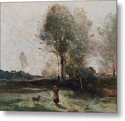 Morning In The Field Metal Print by Jean Baptiste Camille Corot