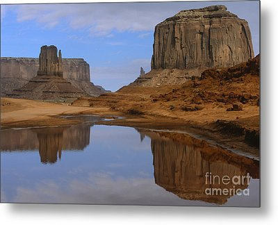 Morning Reflections In Monument Valley Metal Print by Sandra Bronstein