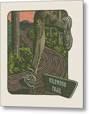 Morning Run On The Wildwood Trail Metal Print by Mitch Frey
