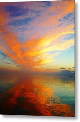 Morning Sky Ocracoke Nc Metal Print by Joan Meyland