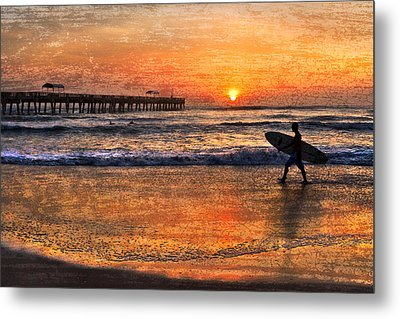 Morning Surf Metal Print by Debra and Dave Vanderlaan