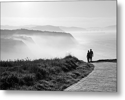Morning Walk With Sea Mist Metal Print by Mikel Martinez de Osaba
