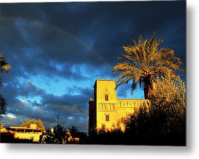 Morocco, Skoura Rainbow Over Dar Ahlam Metal Print by Kymri Wilt