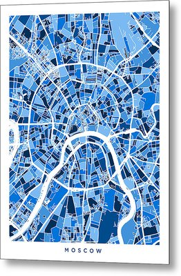 Moscow City Street Map Metal Print by Michael Tompsett