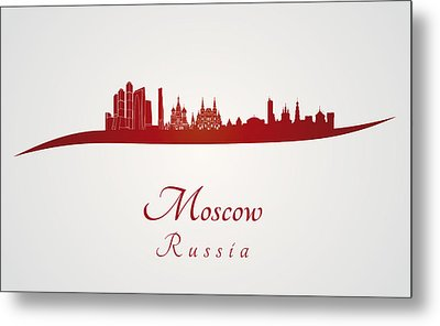 Moscow Skyline In Red Metal Print by Pablo Romero