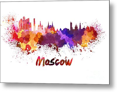 Moscow Skyline In Watercolor Metal Print by Pablo Romero