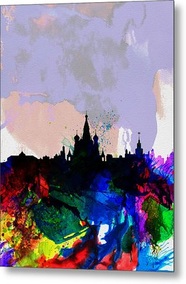 Moscow Watercolor Skyline Metal Print by Naxart Studio