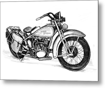 Motercycle  Drawing Art Sketch - 1 Metal Print by Kim Wang