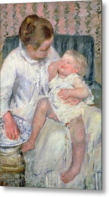Mother About To Wash Her Sleepy Child Metal Print by Mary Stevenson Cassatt