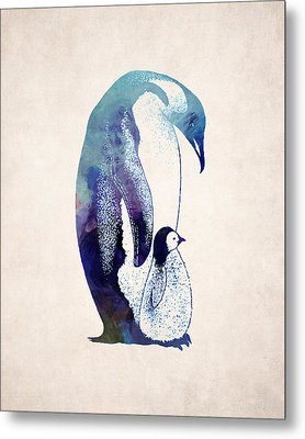 Mother And Baby Penguin Metal Print by World Art Prints And Designs