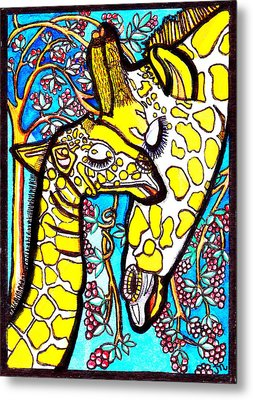 Mother Giraffe With Baby Metal Print by Judy Moon