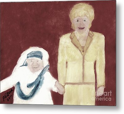 Mother Teresa And Princess Diana In Heaven 3 Metal Print by Richard W Linford