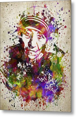 Mother Teresa In Color Metal Print by Aged Pixel